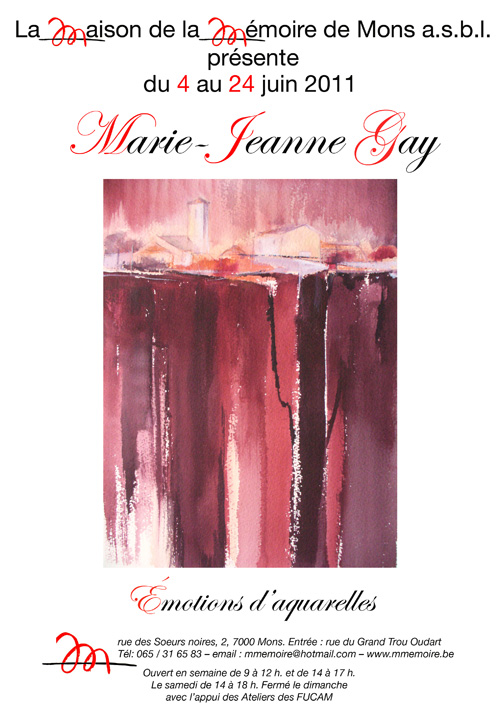 Affiche Marie-Jeanne Gay à Mons 2011
